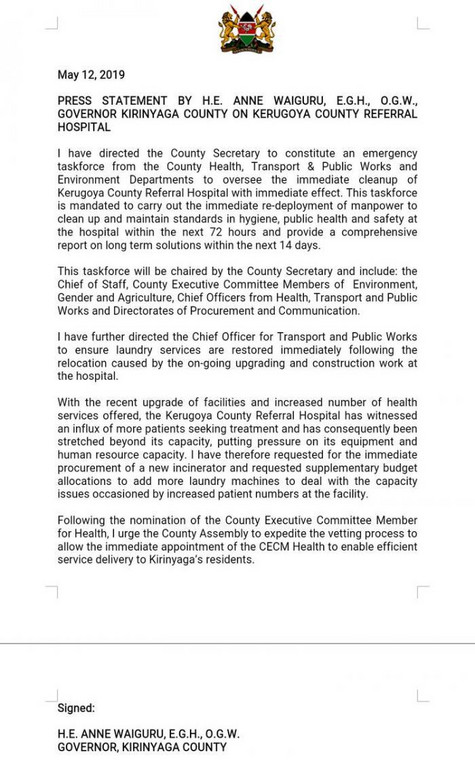 Statement on the state of Kerugoya County Referral Hospital