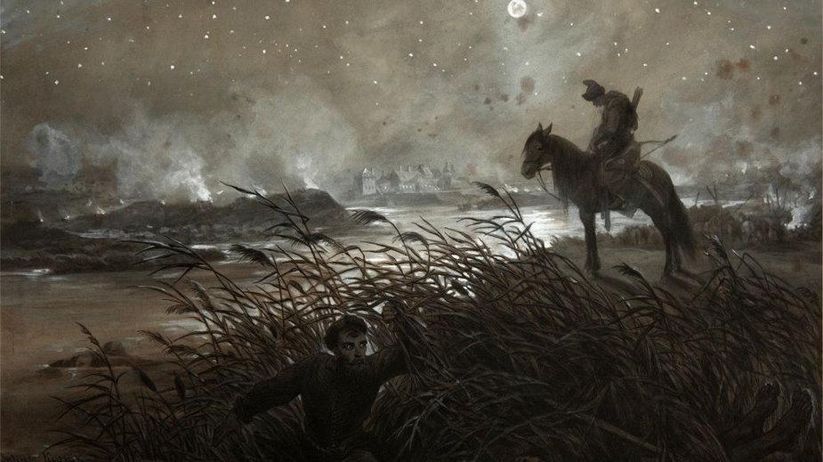 Przeprawa Skrzetuskiego, obraz Juliusza Kossaka, domena publiczna