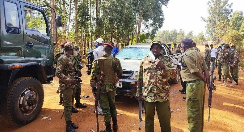 File image of police officers keeping guard during Kabuchai by-election