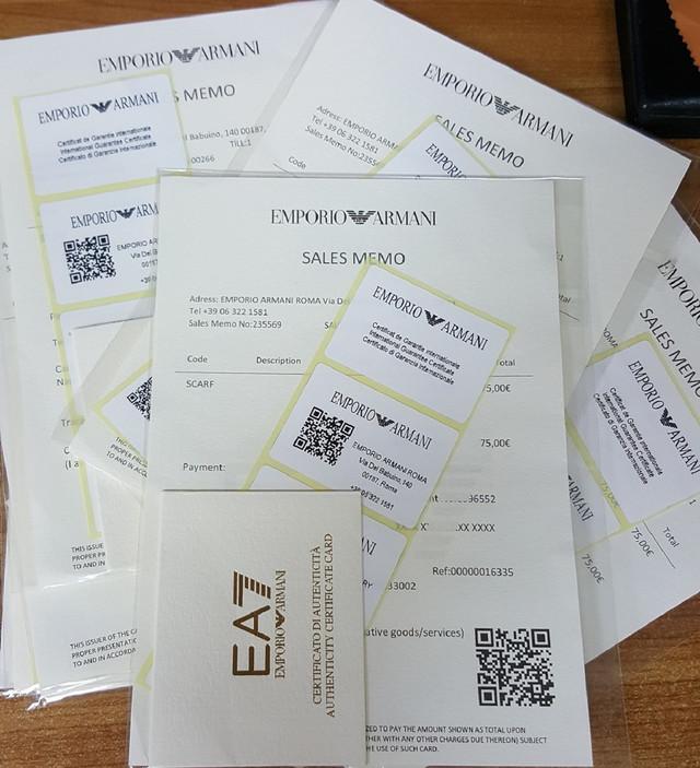Falsifikovani sertifikati i barkodovi Armani