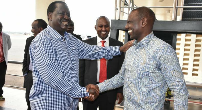 Opposition leader Raila Odinga with DP William Ruto in Kisumu