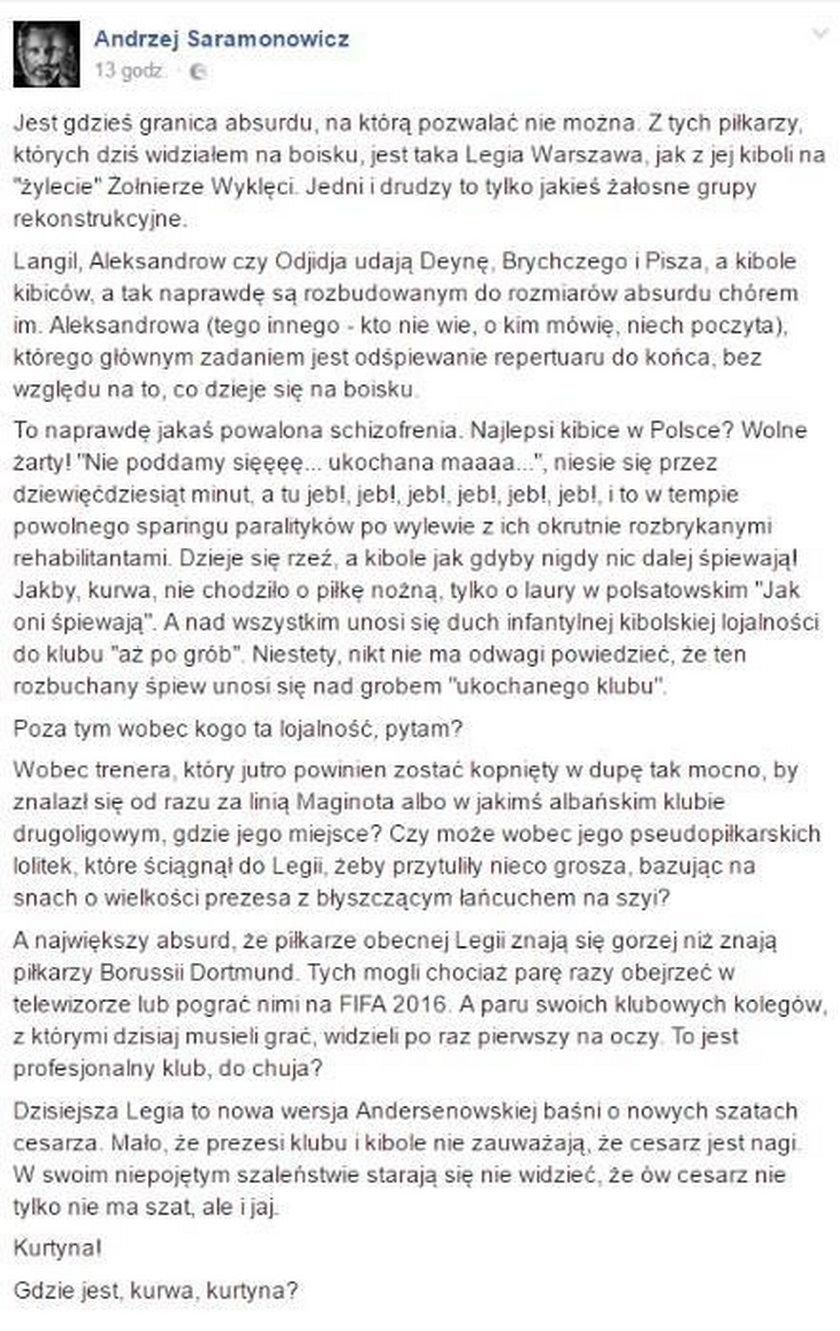 Saramonowicz miażdży Legię
