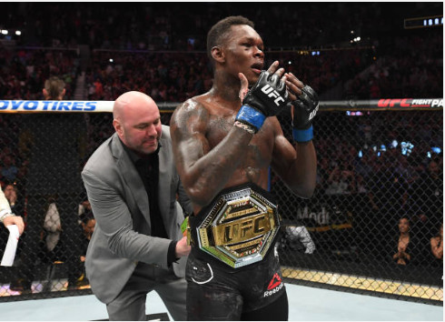 Israel Adesanya  is the UFC interim middleweight champions after his recent win over Kelvin Gastelum (Josh Hedges/Zuffa LLC/Zuffa LLC via Getty Images)