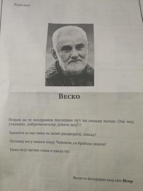 Čitulja za Veska Vukotića