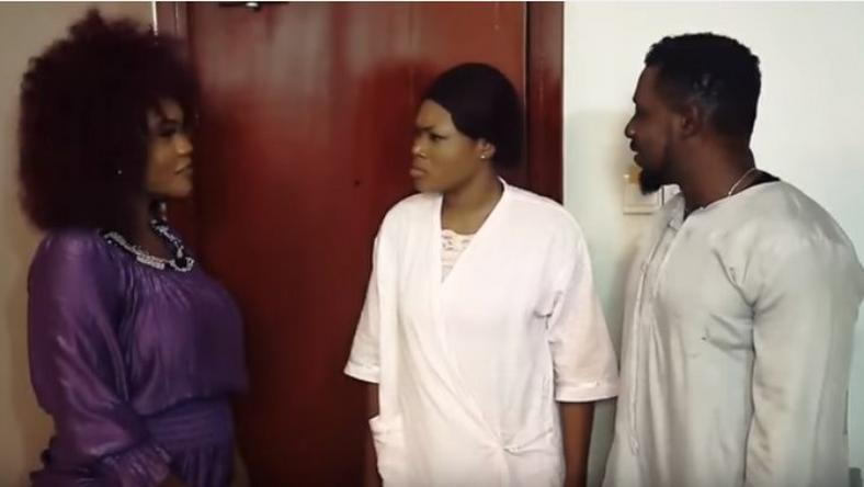 "Daniel K Daniel, Daniela Okeke, Mercy Macjoe on set of ""Flaws"""