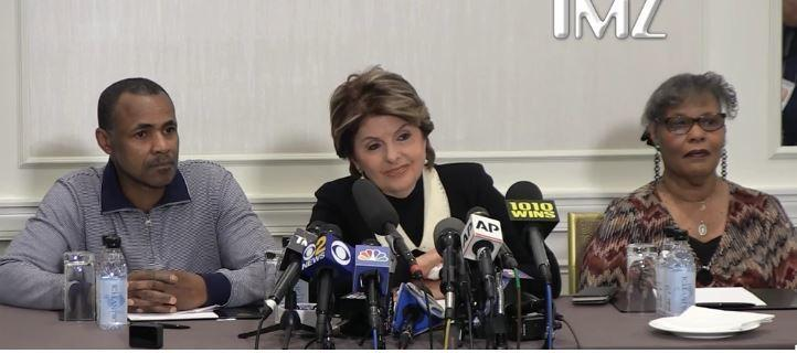 Dary Dennis flanked by his lawyer Gloria Allred at a press briefing [TMZ]