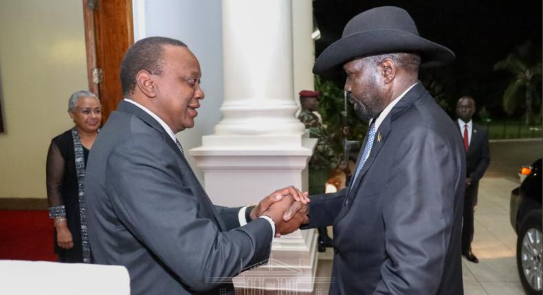 President Kenyatta with South Sudanese president Salva Kiir at State House