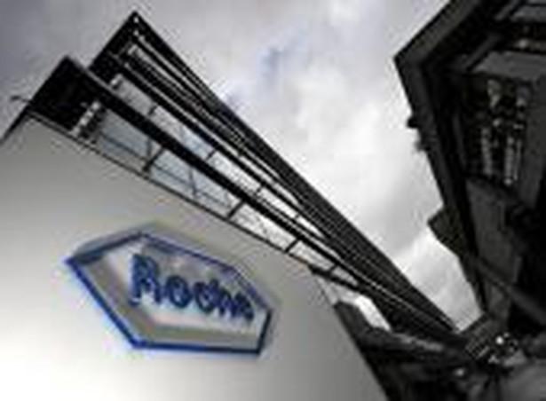 Logo Roche w głównej kwaterze koncernu w Bazylei. Fot. Bloomberg