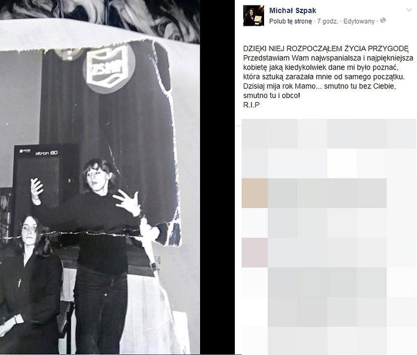 Michał Szpak wspomina zmarłą mamę. Pokazał zdjęcie z albumu rodzinnego