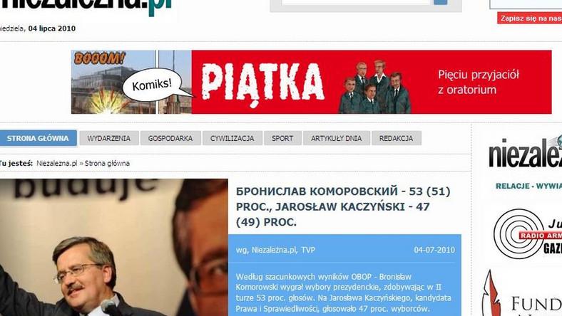 Niezależna.pl pisze Komorowskiego cyrylicą