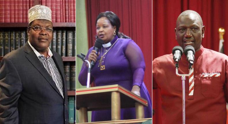 Lawyer Miguna Miguna, Bishop Margaret Wanjiru and Deputy President William Ruto