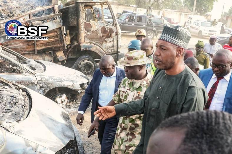 Governor Babagana Zulum of Borno, on Monday, February 10, visited the scene, where Boko Haram terrorists attacked passengers and burnt down vehicles. [Dogo Shettima/Twitter]