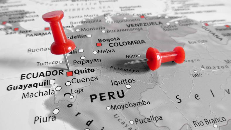 Mapa Ekwador i Peru