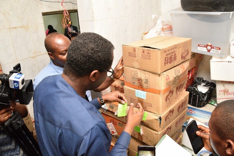 The Federal Competition and Consumer Protection Commission (FCCPC), discovers illegally imported seafood from China, and expired products at Panda Supermarket in Abuja. [FCCPC/Twitter]