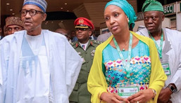President Muhammadu Buhari (L) and Hadiza Bala Usman. [Cable]