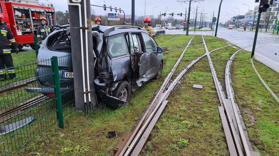 Wypadek na ul. Kuklińskiego w Krakowie