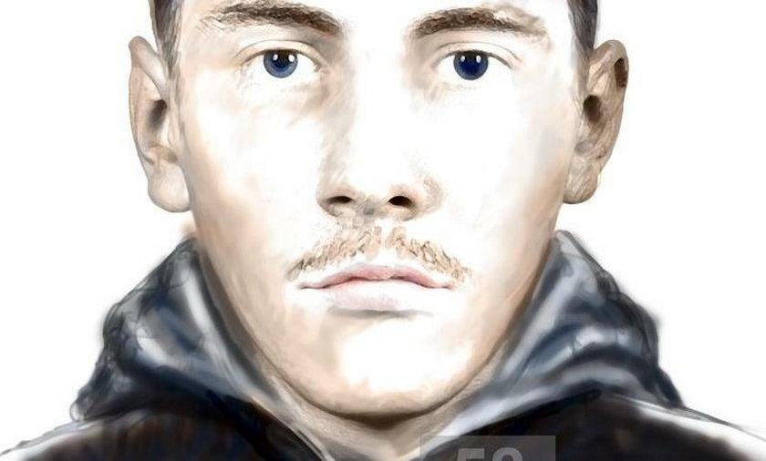 Oto rysopis zboczeńca: mężczyzna w wieku ok. 30 lat, wzrost 180 cm, szczupłej budowy ciała, włosy krótkie czarne, lekki zarost.