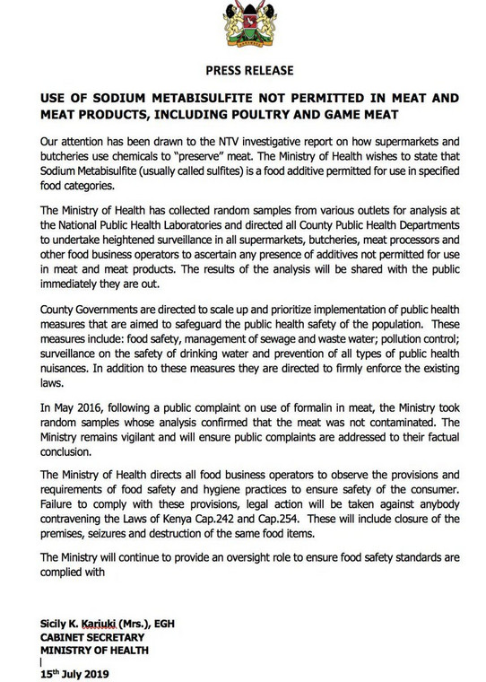 CS Sicily Kariuki statement on sodium metabisulfite use in meat and meat products