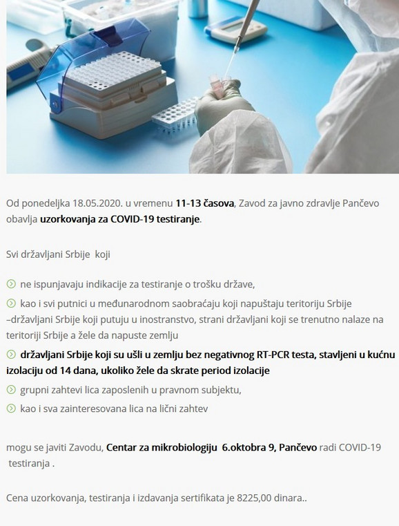 Objava Zavoda za javno zdravlje Pančevo