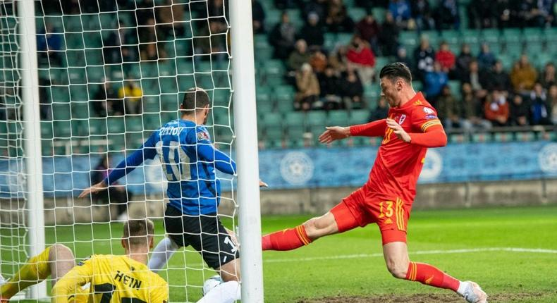 Kieffer Moore's scrappy first-half goal was enough for Wales to see off Estonia Creator: RAIGO PAJULA