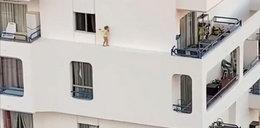 Dziecko na gzymsie budynku. Ten film mrozi krew w żyłach