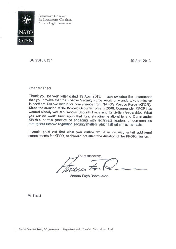 Odgovor generalnog sekretara NATO