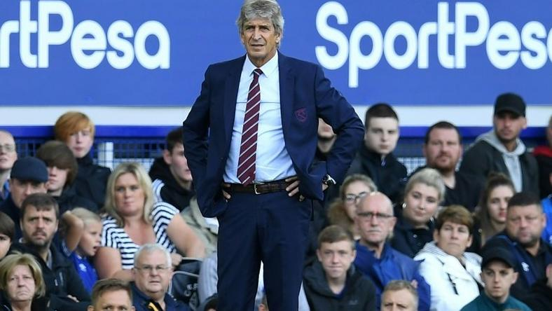Manuel Pellegrini looks on from the touchline during his first Premier League win as West Ham manager, a 3-1 success away to Everton