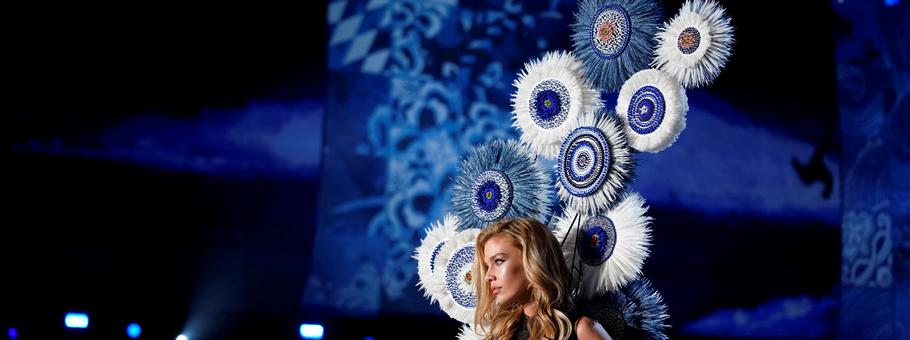 Model Stella Maxwell presents a creation during the 2017 Victoria's Secret Fashion Show in Shanghai