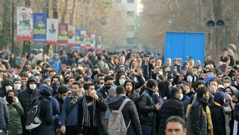 Iranian students demonstrate in Tehran over the downing of a Ukrainian airliner