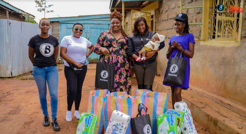 (L to R) Camilla Owora, PR Manager Boomplay, Elizabeth Karuru, Content Acquisition Manager Boomplay, Njeri Migwi, Executive Director, Usikimye, Martha Huro Managing Director EA Boomplay and Terry, House Manager Usikimye are all smiles during the handover on Saturday 8th May 2021.