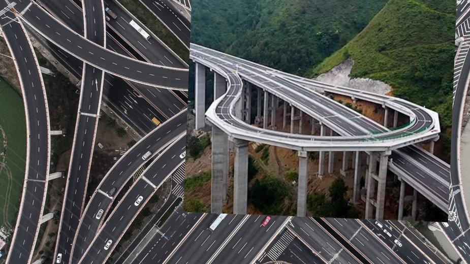Dziwny zakręt na autostradzie w Chinach