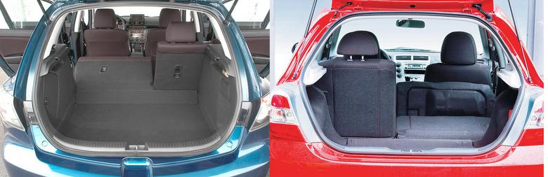 Bagażnik Mazdy 3 (po lewej) ma 300 l, Honda Civic oferuje aż 370 l.