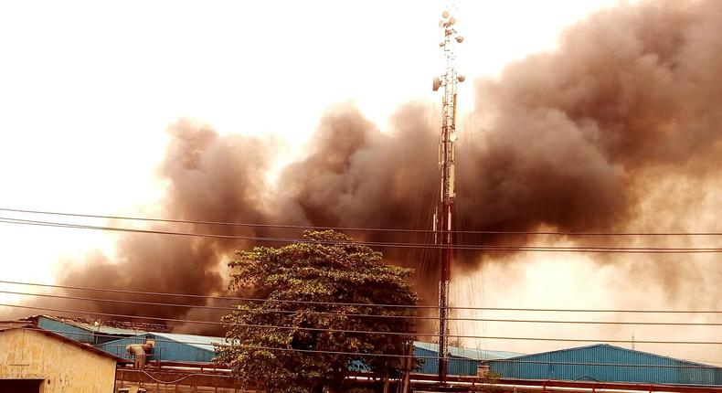 Ranona Nigeria Limited factory on fire in Isolo, Lagos on April 1, 2016