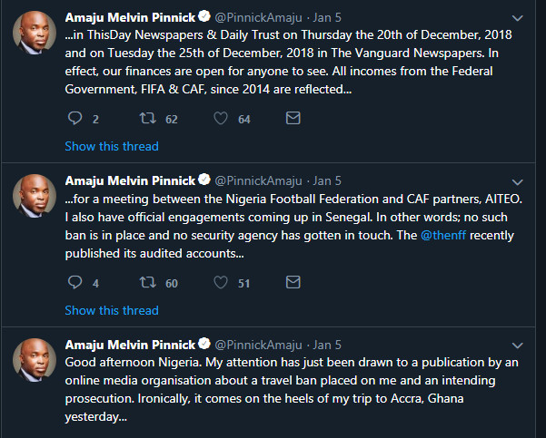 NFF boss takes to Twitter to debunk the reports that he has been arrested and about to be prosecuted (Twitter/Amaju Pinnick)