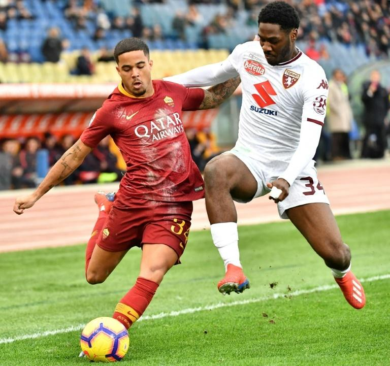 A file picture of Nigerian Ola Aina (R) playing for Torino in Serie A this season.