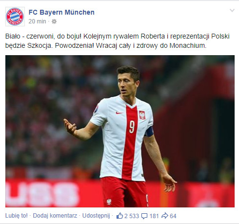 Post z facebooka Bayernu Monachium
