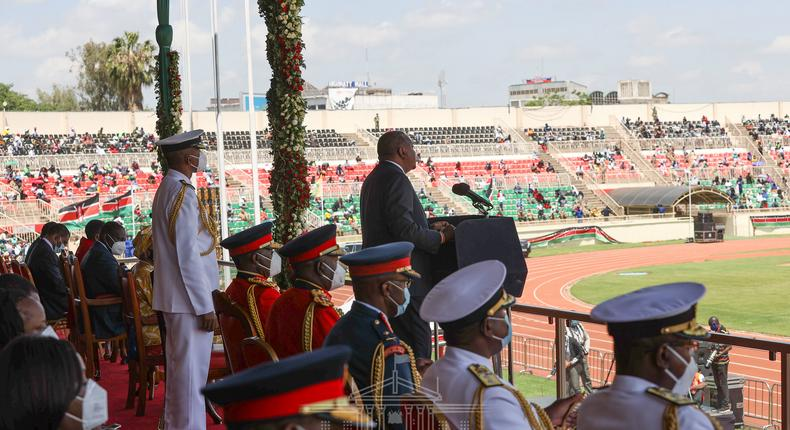President Uhuru Kenyatta during the 2020 Jamhuri Day celebrations at Nyayo Stadium