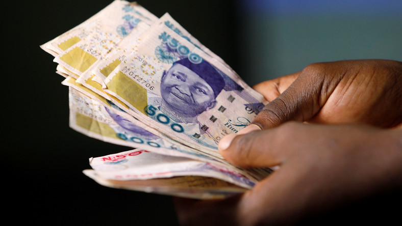 Nigerian naira banknotes are seen in this picture illustration
