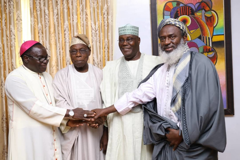 From L-R Bishop Mathew Kukah, Olusegun Obasanjo, Atiku Abubakar and Sheikh Gumi during a peace meeting lately (Obasanjo media organisation)