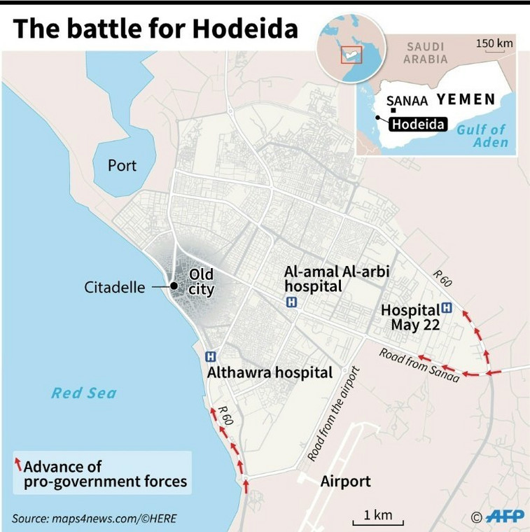 Map locating Hodeida in Yemen where pro-government forces are attempting to retake the city from the rebels.