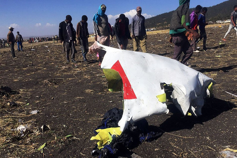 Remnants of Ethiopian Airlines Flight 302 which crashed shortly after take-off on Sunday.