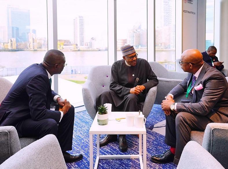 President Muhammadu Buhari; Lagos state governor Babajide Sanwo-Olu and Ogun state governor, Dapo Abiodun. [Twitter/MBuhari]