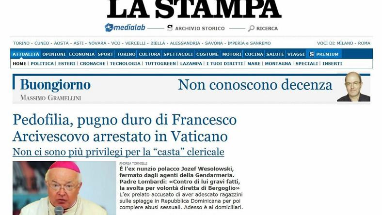 """Pierwsza strona gazety """"La Stampa"""""""