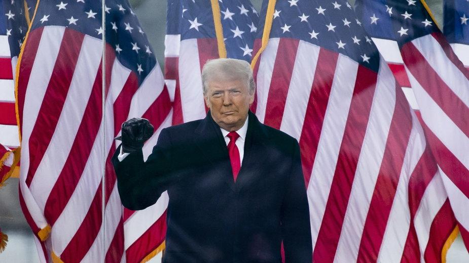 Donald Trump podczas przemówienia, po którym jego zwolennicy ruszyli na Kapitol