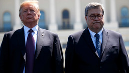 President Donald Trump stands with Attorney General William Barr during the 38th Annual National Peace Officers' Memorial Service at the U.S. Capitol, Wednesday, May 15, 2019, in Washington.