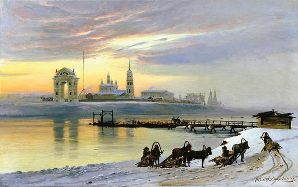 Obraz z XIX w. przedstawiający Irkuck. To w tym mieście zaczęła się przemiana księcia Piotra Kropotkina w anarchistę