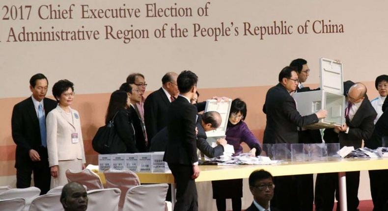 Ballots for Hong Kong's chief executive election being sorted in Wan Chai on Sunday