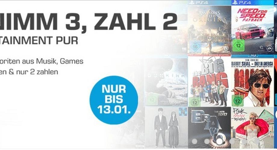 Spiele, Musik & Filme billiger: kauf drei, zahl zwei