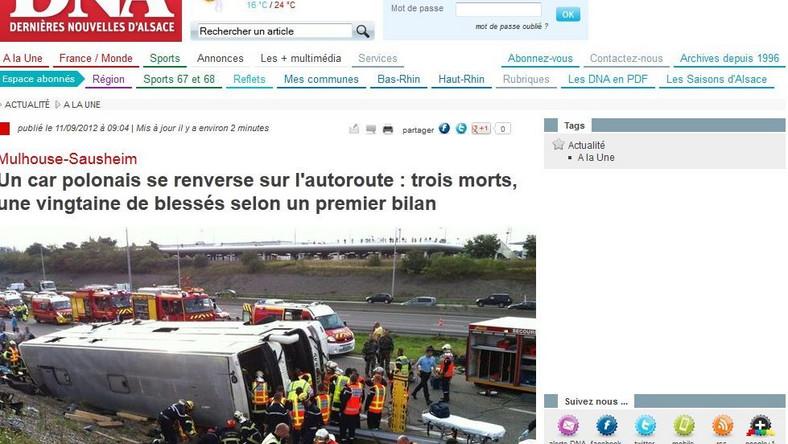 Wypadek wydarzył się pod Miluzą na wschodzie Francji