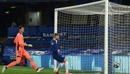 Chelsea striker Timo Werner scores against Real Madrid Creator: Glyn KIRK